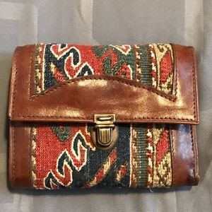Handbags - Leather & Tapestry Tri Fold Wallet